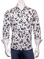 Luchiano Visconti Floral Print Long Sleeve Sport Shirt