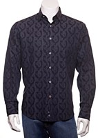 Luchiano Visconti Jacquard Paisley Long Sleeve Sport Shirt