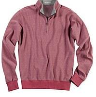 Peter Millar Melange Fleece Herringbone Half-Zip Sweater