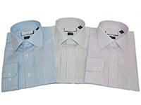 London's Big & Tall 2-ply Cotton Vertical Stripe Long Sleeve Dress Shirt