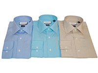 London's Big & Tall 2-ply Cotton Solid Long Sleeve Dress Shirt