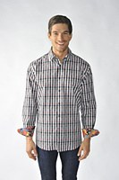 2205 Ink Plaid Long Sleeve Sport Shirt