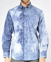 Luchiano Visconti Limited Edition Swirl Flocked Long Sleeve Sport Shirt
