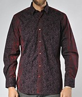 Luchiano Visconti Limited Edition Flocked Falling Leaves Long Sleeve Sport Shirt