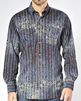 Luchiano Visconti Limited Edition Textured Paisley Stripe Long Sleeve Sport Shirt