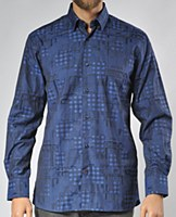 Luchiano Visconti Limited Edition Geometric Long Sleeve Sport Shirt