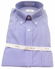 Cooper and Stewart Mini Check No Iron Long Sleeve Sport Shirt