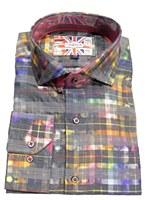 7 Downie Street London Multi Check Long Sleeve Sport Shirt
