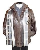 Regency Double Collar Brown Leather Jacket