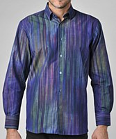 Luchiano Visconti Striped Eclipse Long Sleeve Sport Shirt