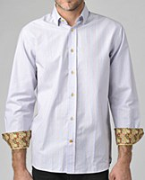 Luchiano Visconti Striped Era Long Sleeve Sport Shirt