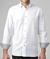Luchiano Visconti Vertical Diamond White Long Sleeve Sport Shirt