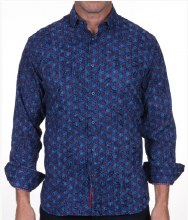Luchiano Visconti Flocked Long Sleeve Sport Shirt