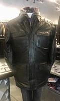 Big & Tall Black Lamb Skin City Coat