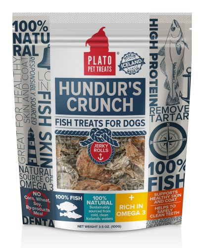 Plato Hundur's Crunch Fish Jerky Roll Dog Treats 3.5oz
