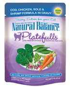 Natural Balance 3oz Platefulls Cod,Chicken,Sole & Shrimp Formula in Gravy Pouch