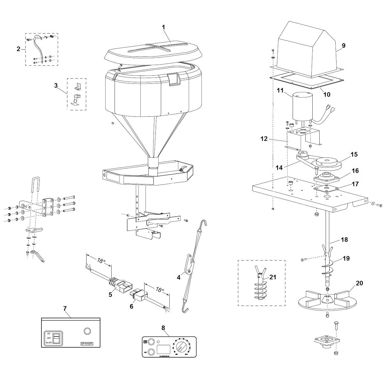 Western 500 Tailgate Salt Spreader Parts Diagram / Schematic