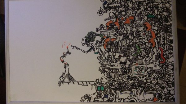 whiteboard complex drawing