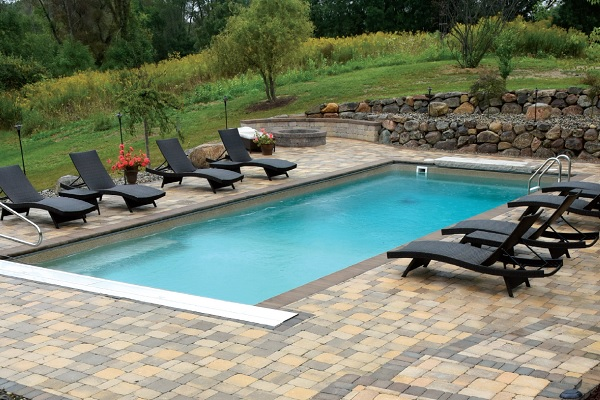 Old World Vintage Brick Pavers by Pool