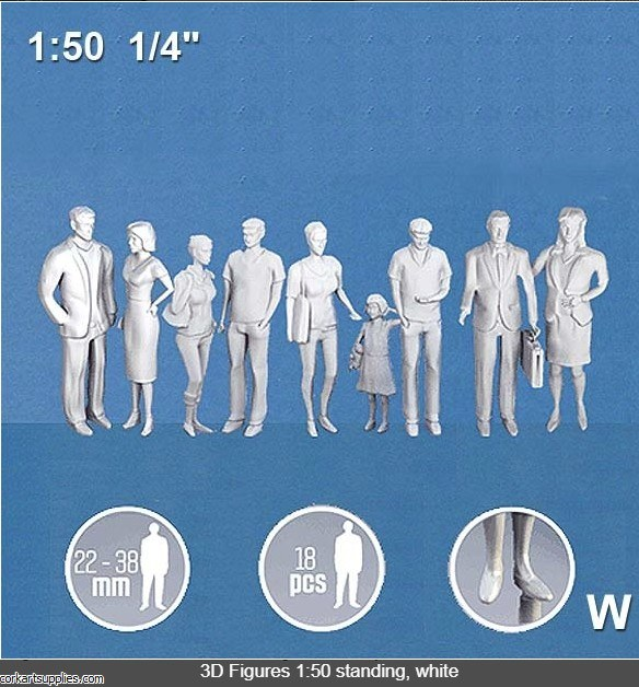 3D Figures Standing 1:50 White