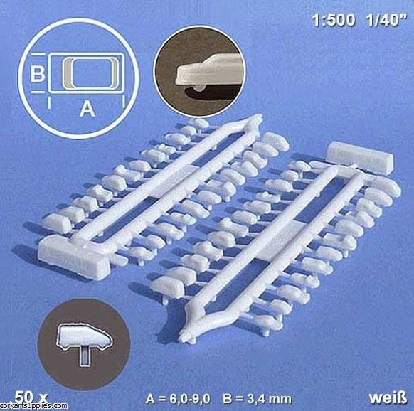 Model Cars White 1:500 50pk