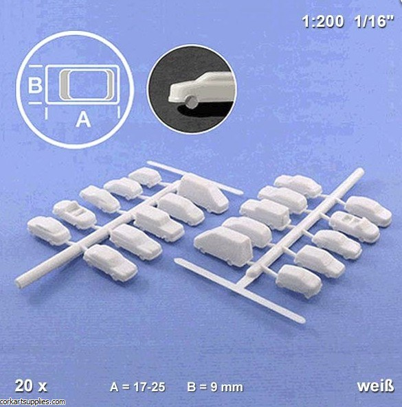 Model Cars White 1:200 20pk