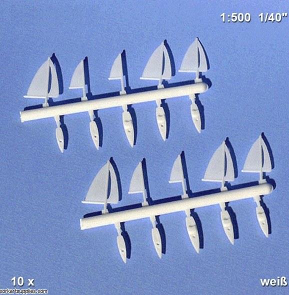 3D Sailing Boat White 1:500 10pk