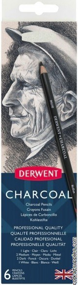 Derwent 6pk Charcoal Pencil