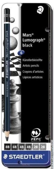 Lumograph Tin Asst Black 6pk
