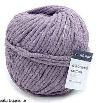 Vivant Macrame Cotton Cord, Oud Lila