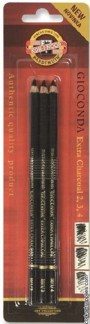 Charcoal Pencil KN Blk Ast 3pk