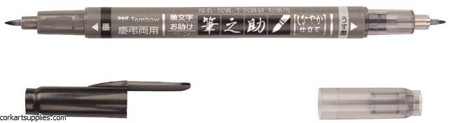 Tombow Fudenosuke Brush Pen Dual tipped Black / Gray