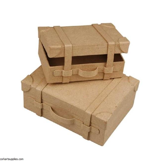 Papier Mache Suitcases Small 2pk