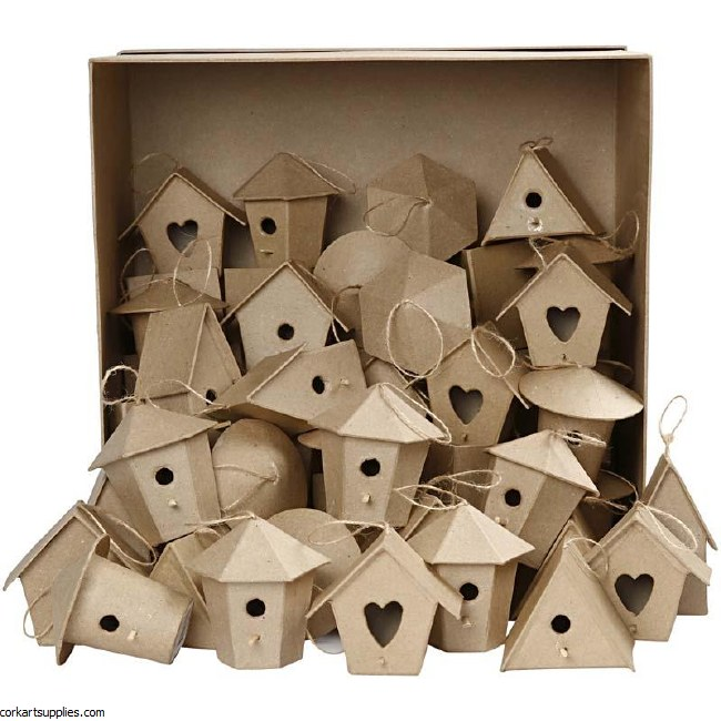 Papier Mache Birdhouses Assorted 60 pack