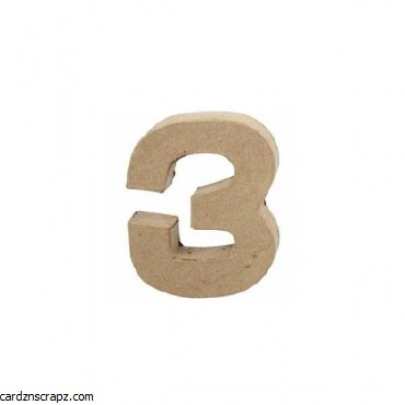 Papier Mache Number 3 10cm