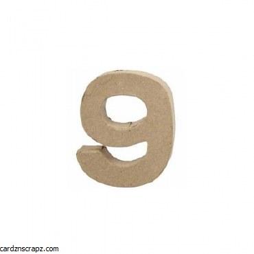 Papier Mache Number 9 10cm