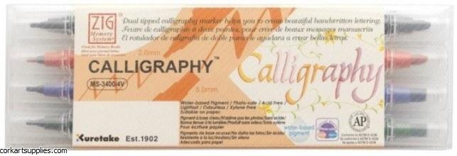 Zig Calligraphy Markers Dual Tip 4pk