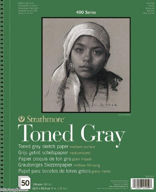 "Strathmore Toned Pad Gray 118gm/80lb 9x12"" 50 sheet"