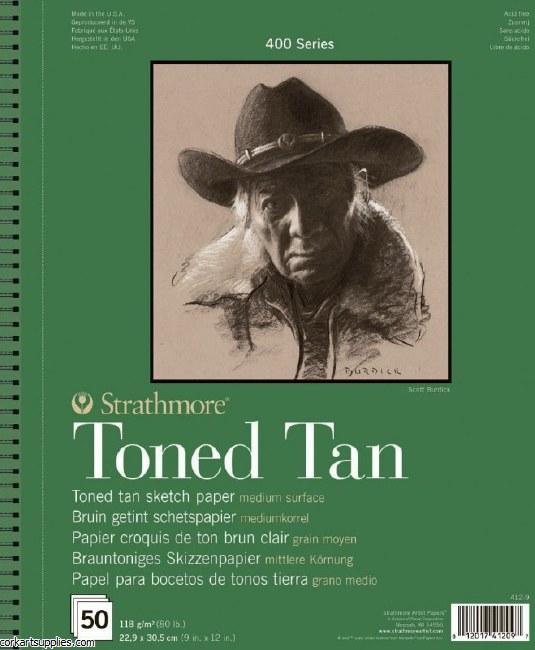 "Strathmore Toned Pad Tan 118gm/80lb 9x12"" 50 sheet"