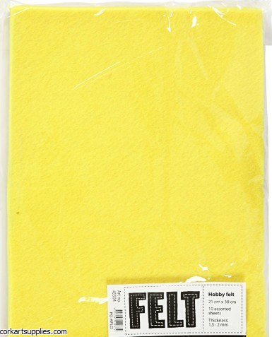 Felt A4 1.5mm Yellow 10pk