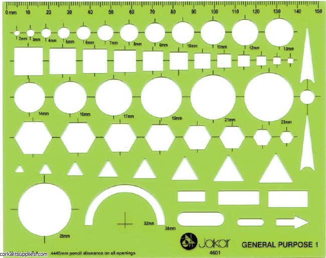 Template Jakar 4601 General Purpose 2mm-38mm