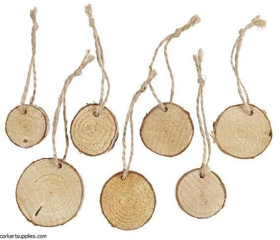 Wood Discs Asst w/Jute 7pk