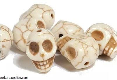 Beads Skull 12mm White 7pk