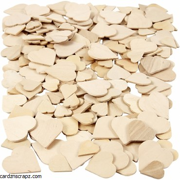 Wood Hearts 2mm AsstSize 250pk
