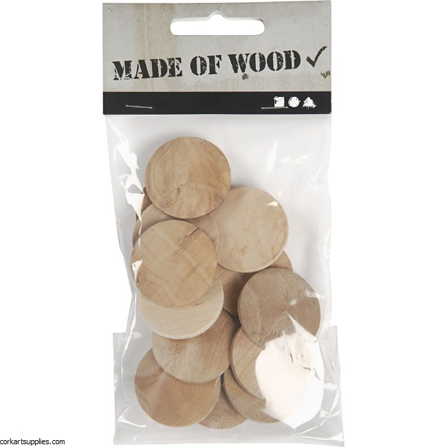 Wooden Buttons 30mm 15pk