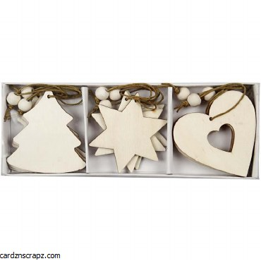 Wood Xmas Decoration 9pk^