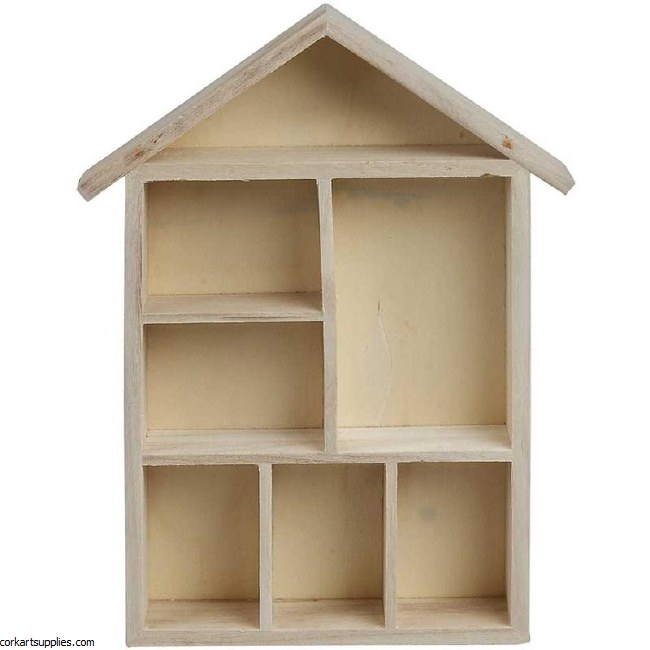 Funky Shelving System - 7 Compartment Wood House 30x22x4.5cm