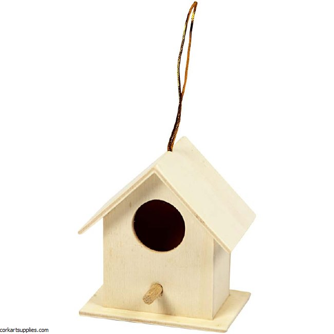 Mini Wooden Bird House 6x6cm