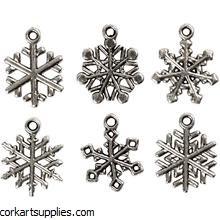 Charms Snowflake Silver 18pk^