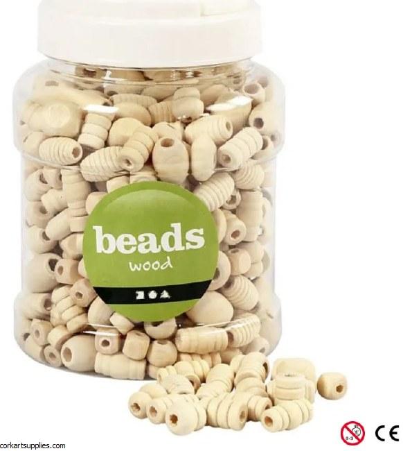 Beads Wood 175g Lrg Asst Shape
